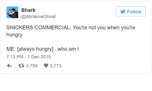Hungryness: Shark  Follow  raSIVeGhOS  SNICKERS COMMERCIAL: You're not you when you're  hungry  ME: always hungry] ..who am  7:13 PM 1 Dec 2015  4,799 5,773