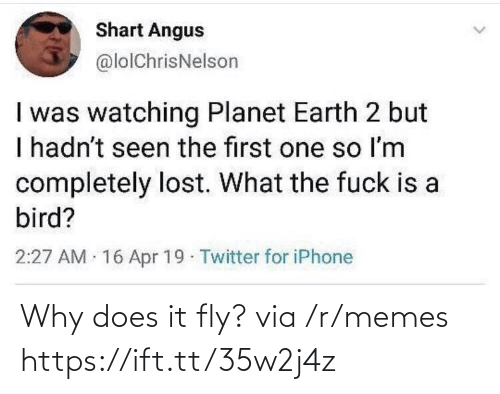 Fuck Is: Shart Angus  @lolChrisNelson  I was watching Planet Earth 2 but  I hadn't seen the first one so Im  completely lost. What the fuck is a  bird?  2:27 AM 16 Apr 19 Twitter for iPhone Why does it fly? via /r/memes https://ift.tt/35w2j4z