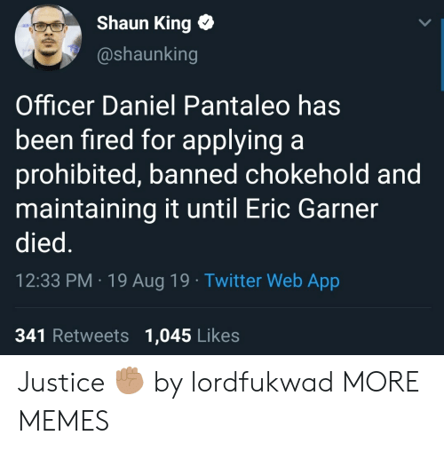 Prohibited: Shaun King  @shaunking  Officer Daniel Pantaleo has  been fired for applying a  prohibited, banned chokehold and  maintaining it until Eric Garner  died.  12:33 PM 19 Aug 19 Twitter Web App  341 Retweets 1,045 Likes Justice ✊🏽 by lordfukwad MORE MEMES