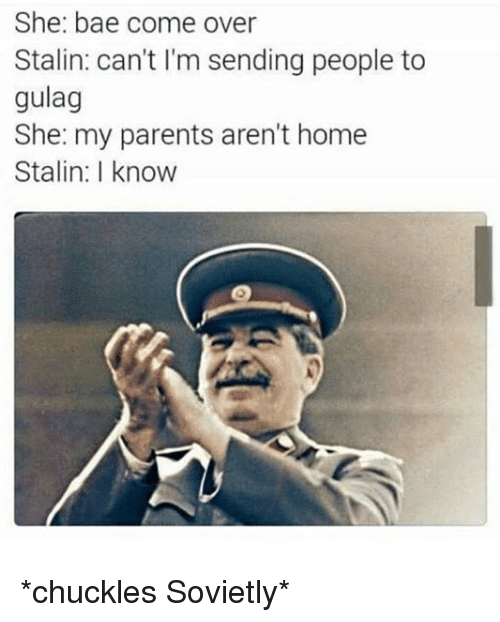 Bae, Come Over, and Parents: She: bae come over  Stalin: can't I'm sending people to  gulag  She: my parents aren't home  Stalin: I know *chuckles Sovietly*