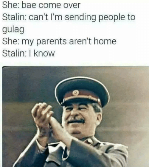 Bae, Come Over, and Parents: She: bae come over  Stalin: can't I'm sending people to  gulag  She: my parents aren't home  Stalin: I know