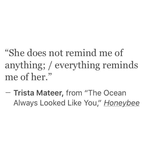 "Ocean, Her, and She: ""She does not remind me of  anything; everything reminds  me of her.""  Trista Mateer, from ""The Ocean  Always Looked Like You,"" Honeybee"