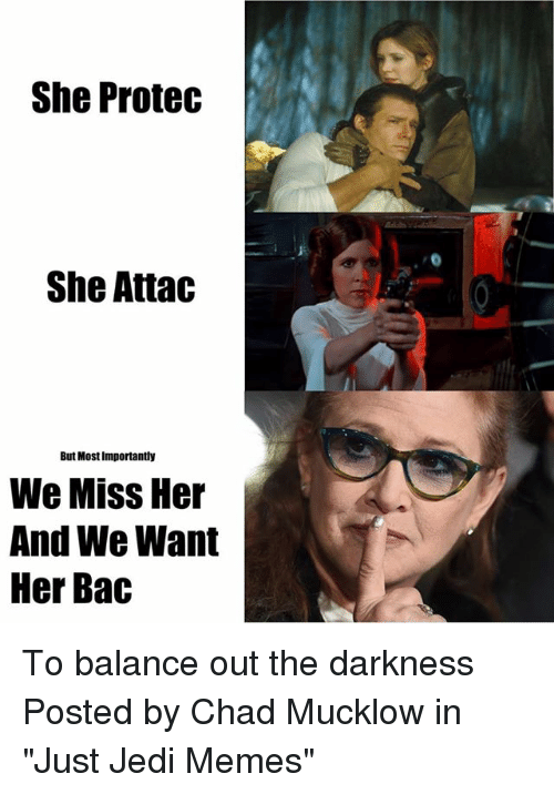 """Chads: She Protec  She Attac  But Most Importantly  We Miss Her  And We Want  Her Bac To balance out the darkness  Posted by Chad Mucklow in """"Just Jedi Memes"""""""