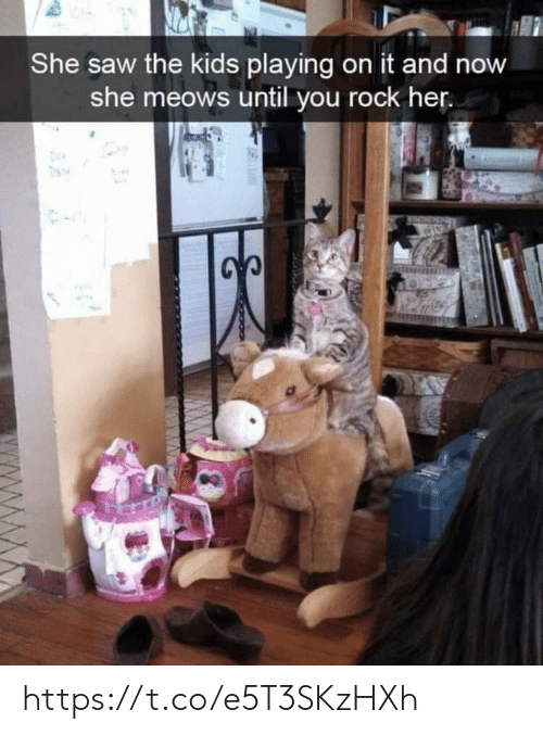 Meows: She saw the kids playing on it and now  she meows until you rock her. https://t.co/e5T3SKzHXh