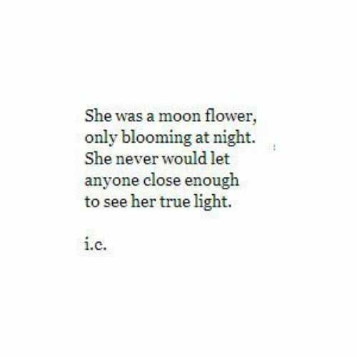 Nightly: She was a moon flower,  only blooming at night.  She never would let  anyone close enough  to see her true light.  1.  C.