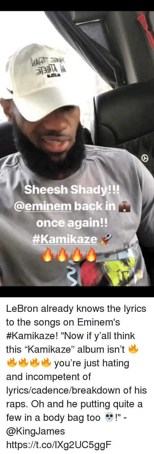 """Eminem, Memes, and Lebron: Sheesh Shady!!!  @eminem back in  once again!!  LeBron already knows the lyrics to the songs on Eminem's #Kamikaze!   """"Now if y'all think this """"Kamikaze"""" album isn't 🔥🔥🔥🔥🔥 you're just hating and incompetent of lyrics/cadence/breakdown of his raps. Oh and he putting quite a few in a body bag too 💀!"""" - @KingJames https://t.co/lXg2UC5ggF"""