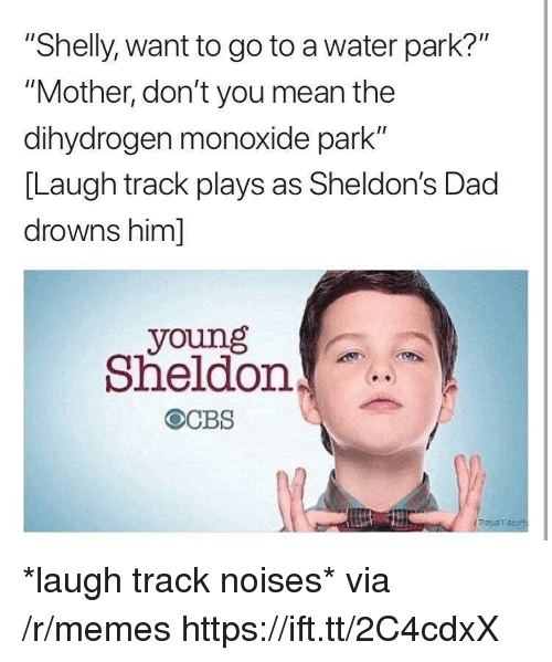 "sheldon: ""Shelly, want to go to a water park?""  ""Mother, don't you mean the  dihydrogen monoxide park""  [Laugh track plays as Sheldon's Dad  drowns him]  young  Sheldon  Paparaco *laugh track noises* via /r/memes https://ift.tt/2C4cdxX"