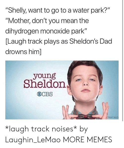 "sheldon: ""Shelly, want to go to a water park?""  ""Mother, don't you mean the  dihydrogen monoxide park""  [Laugh track plays as Sheldon's Dad  drowns him]  young  Sheldon  Paparaco *laugh track noises* by Laughin_LeMao MORE MEMES"