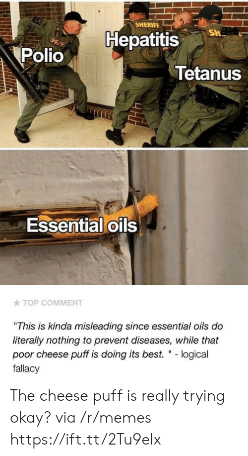"Memes, Best, and Hepatitis: SHERIFE  Hepatitis  Polio  Tetanus  Essential oils  TOP COMMENT  ""This is kinda misleading since essential oils do  literally nothing to prevent diseases, while that  poor cheese puff is doing its best. "" - logical  fallacy The cheese puff is really trying okay? via /r/memes https://ift.tt/2Tu9eIx"