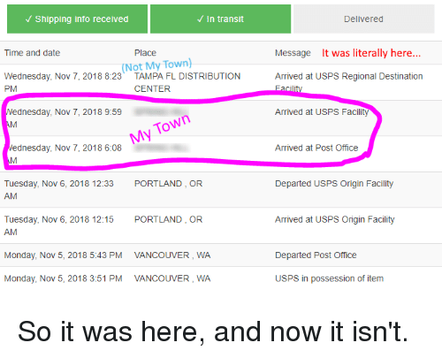 Shipping Info Received in Transit Delivered Time and Date