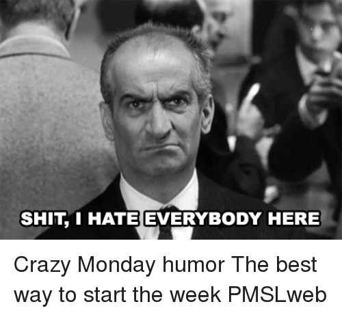 I Hate Everybody: SHIT I HATE EVERYBODY HERE <p>Crazy Monday humor  The best way to start the week  PMSLweb </p>