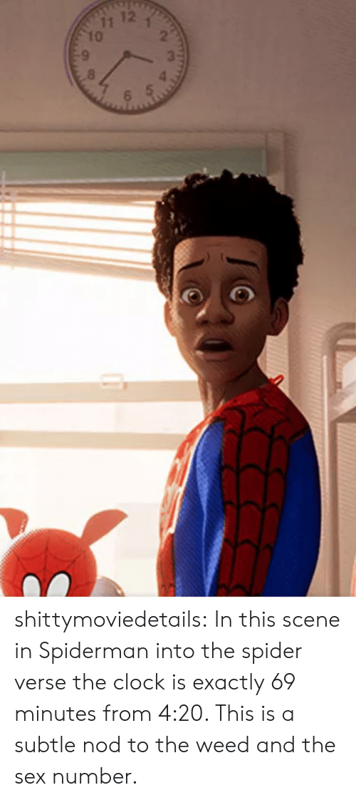 nod: shittymoviedetails:  In this scene in Spiderman into the spider verse the clock is exactly 69 minutes from 4:20. This is a subtle nod to the weed and the sex number.