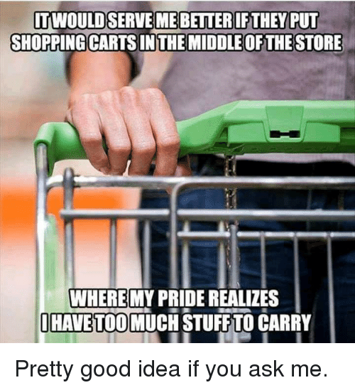 carts: SHOPPING CARTS IN THE MIDDLE OF THE STORE  WHERE  HAVE TOO MUCH STUFF TO CARRY  MY PRIDE REALIZES Pretty good idea if you ask me.
