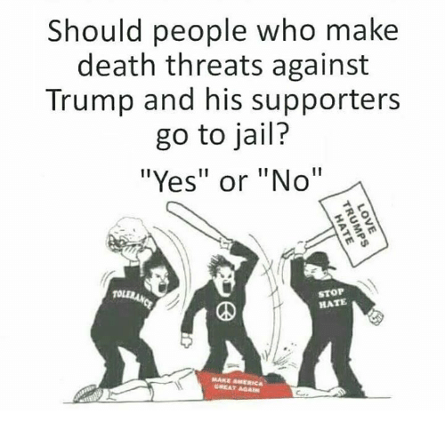 """America, Jail, and Memes: Should people who make  death threats against  Trump and his supporters  go to jail?  """"Yes"""" or """"No""""  STOP  HATE  MAKE AMERICA  GREAT AGAIN"""