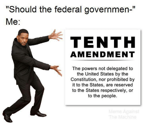 "Reserved: ""Should the federal governmen-""  Ме:  TENTH  AMENDMENT  The powers not delegated to  the United States by the  Constitution, nor prohibited by  it to the States, are reserved  to the States respectively, or  to the people.  Meme Against  The Machine"