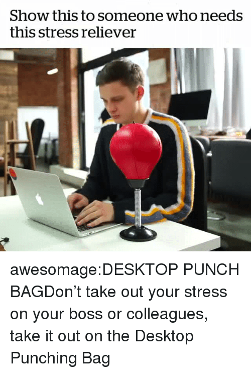 Tumblr, Blog, and Com: Show this to someone who needs  this stress reliever awesomage:DESKTOP PUNCH BAGDon't take out your stress on your boss or colleagues, take it out on the Desktop Punching Bag