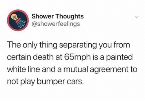 certain: Shower Thoughts  @showerfeelings  The only thing separating you from  certain death at 65mph is a painted  white line and a mutual agreement to  not play bumper cars.