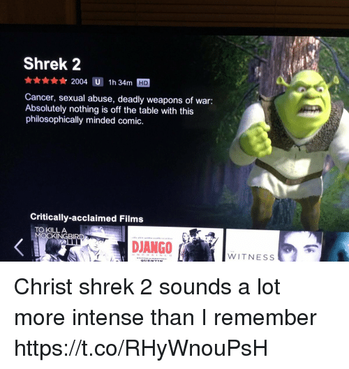 Philosophically: Shrek 2  2004 U  1h 34m  Cancer, sexual abuse, deadly weapons of war:  Absolutely nothing is off the table with this  philosophically minded comic  Critically-acclaimed Films  TO KILL A  WITNESS Christ shrek 2 sounds a lot more intense than I remember https://t.co/RHyWnouPsH