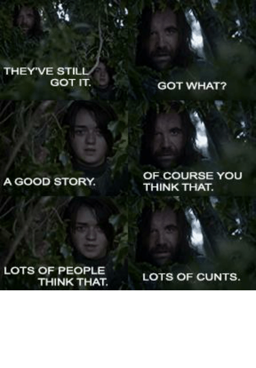 Good, Got, and Who: Si  THEY'VE STILL  GOT IT  GOT WHAT?  OF COURSE YOU  THINK THAT.  A GOOD STORY.  LOTS OF PEOPLE  THINK THAT  LOTS OF CUNTS. The fans who like pretty visuals and shock value vs. The fans