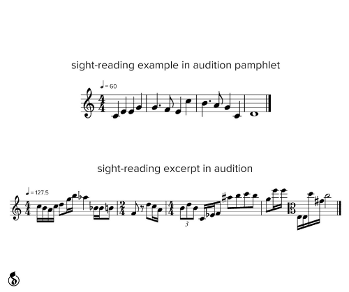 Sight: sight-reading example in audition pamphlet  J-60  %3!  sight-reading excerpt in audition  = 127.5  3