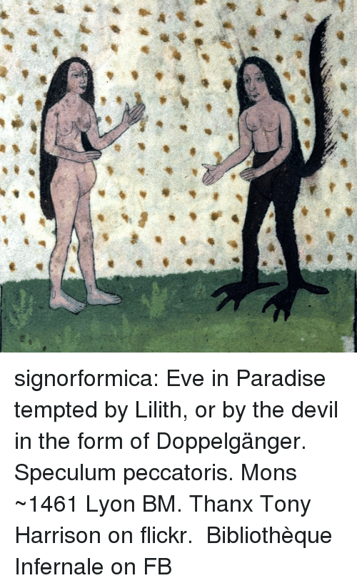 tempted: signorformica:   Eve in Paradise tempted by Lilith, or by the devil in the form of Doppelgänger. Speculum peccatoris. Mons ~1461 Lyon BM. Thanx Tony Harrison on flickr.  Bibliothèque Infernale on FB