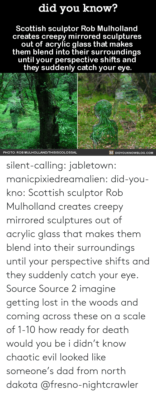 calling: silent-calling: jabletown:  manicpixiedreamalien:  did-you-kno:  Scottish sculptor Rob Mulholland  creates creepy mirrored sculptures  out of acrylic glass that makes  them blend into their surroundings  until your perspective shifts and  they suddenly catch your eye.  Source Source 2  imagine getting lost in the woods and coming across these on a scale of 1-10 how ready for death would you be  i didn't know chaotic evil looked like someone's dad from north dakota    @fresno-nightcrawler