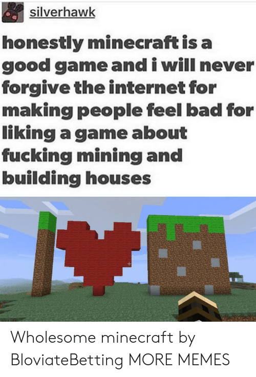 good game: silverhawk  honestly minecraft is a  good game and i will never  forgive the internet for  making people feel bad for  liking a game about  fucking mining and  building houses Wholesome minecraft by BloviateBetting MORE MEMES