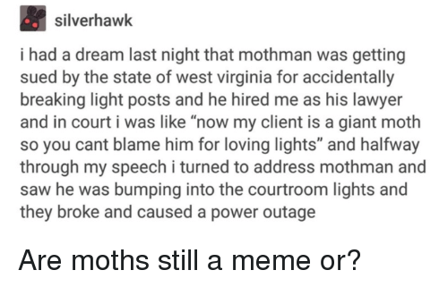 "A Dream, Lawyer, and Meme: silverhawk  i had a dream last night that mothman was getting  sued by the state of west virginia for accidentally  breaking light posts and he hired me as his lawyer  and in court i was like ""now my client is a giant moth  so you cant blame him for loving lights"" and halfway  through my speech i turned to address mothman and  saw he was bumping into the courtroom lights and  they broke and caused a power outage Are moths still a meme or?"