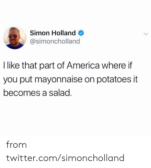 America, Dank, and Twitter: Simon Holland  @simoncholland  I like that part of America where if  you put mayonnaise on potatoes it  becomes a salad. from twitter.com/simoncholland