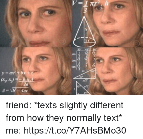 Text, Girl Memes, and Texts: sin  2  cos -  2  tan  2x  (xp  2a friend: *texts slightly different from how they normally text* me: https://t.co/Y7AHsBMo30
