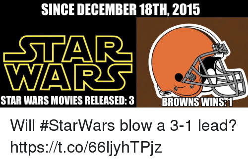 3 1 Lead: SINCE DECEMBER 18TH, 2015  STAR  WA  STAR WARS MOVIES RELEASED:3  BROWNS WINS:1 Will #StarWars blow a 3-1 lead? https://t.co/66ljyhTPjz