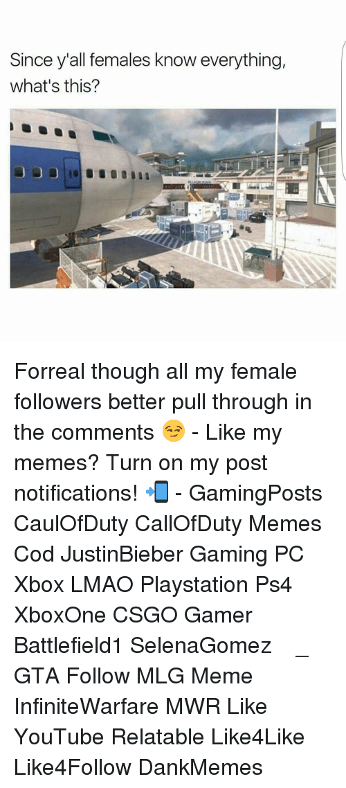 Mlg Memes: Since yall females know everything,  what's this? Forreal though all my female followers better pull through in the comments 😏 - Like my memes? Turn on my post notifications! 📲 - GamingPosts CaulOfDuty CallOfDuty Memes Cod JustinBieber Gaming PC Xbox LMAO Playstation Ps4 XboxOne CSGO Gamer Battlefield1 SelenaGomez بوس_ستيشن GTA Follow MLG Meme InfiniteWarfare MWR Like YouTube Relatable Like4Like Like4Follow DankMemes