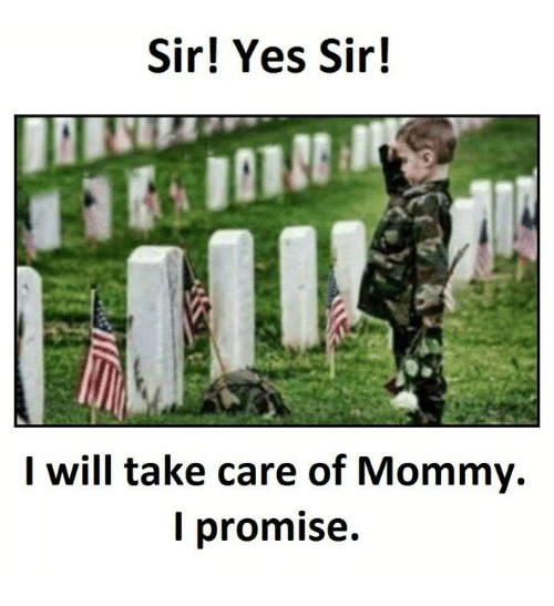 Sir Yes Sir: Sir! Yes Sir!  I will take care of Mommy.  I promise.