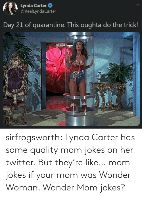 Wonder Woman: sirfrogsworth:  Lynda Carter has some quality mom jokes on her twitter. But they're like… mom jokes if your mom was Wonder Woman. Wonder Mom jokes?