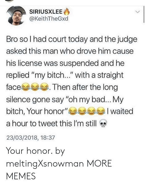 "Bad, Bitch, and Dank: SIRIUSXLEE  @KeithTheGxd  Bro so l had court today and the judge  asked this man who drove him cause  his license was suspended and he  replied ""my bitch..."" with a straight  face. Then after the long  silence gone say ""oh my bad... My  bitch, Your honor""부부부부 I waited  a hour to tweet this I'm still  23/03/2018, 18:37 Your honor. by meltingXsnowman MORE MEMES"