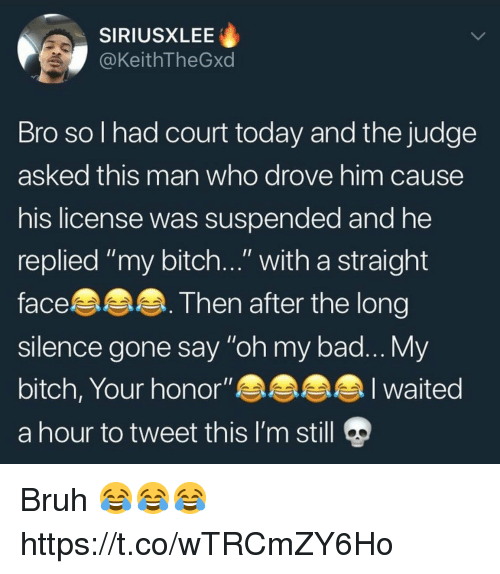 """Bad, Bitch, and Bruh: SIRIUSXLEE  @KeithTheGxd  Bro sol had court today and the judge  asked this man who drove him cause  his license was suspended and he  replied """"my bitch..."""" with a straight  face  sllence gone say """"oh my bad... y  bitch, Your honor""""  a hour to tweet this I'm still  Then after the long Bruh 😂😂😂 https://t.co/wTRCmZY6Ho"""