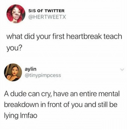 Dude, Twitter, and Lying: SIS OF TWITTER  @HERTWEETX  what did your first heartbreak teach  you?  aylin  @tinypimpcess  A dude can cry, have an entire mental  breakdown in front of you and still be  lying Imfac