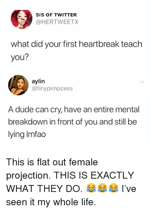 Dude, Life, and Memes: SIS OF TWITTER  @HERTWEETX  what did your first heartbreak teach  you?  aylin  @tinypimpcess  A dude can cry, have an entire mental  breakdown in front of you and still be  lying Imfao This is flat out female projection. THIS IS EXACTLY WHAT THEY DO. 😂😂😂 I've seen it my whole life.