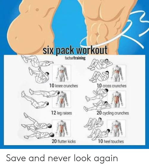 heel: six pack workout  factsoftraining  10 knee crunches  0 cross crunches  12 leg raises  20 cycling crunches  20 flutter kicks  10 heel touches Save and never look again