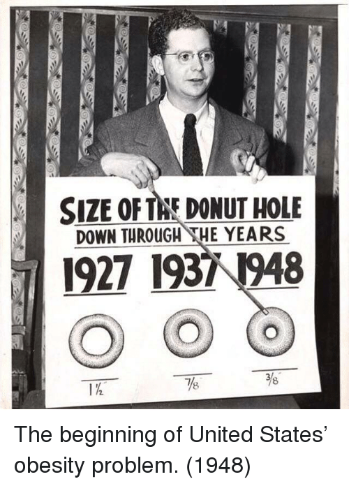 United, United States, and Obesity: SIZE OFTAE DONUT HOLE  DOWN THROUGH THE YEARS  1927 19371948  78  8 The beginning of United States' obesity problem. (1948)