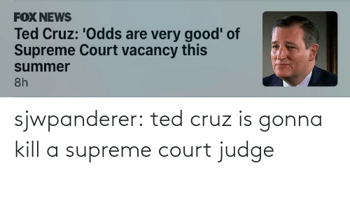 Supreme Court: sjwpanderer:  ted cruz is gonna kill a supreme court judge