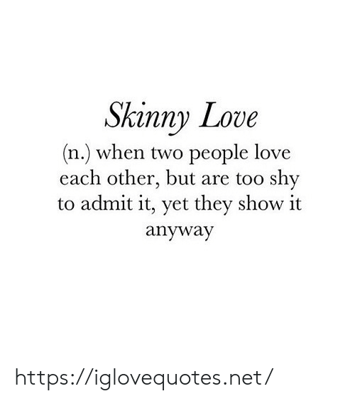 Love, Skinny, and Net: Skinny Love  (n.) when two people love  each other, but are too shy  to admit it, yet they show it  anyway https://iglovequotes.net/