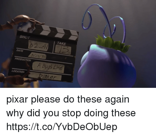 Pixar, Date, and Girl Memes: SKT  TAKE  62-4  DATE  3/27/78  PRODUCTION  A Bugs Lfe  LOCATION pixar please do these again why did you stop doing these https://t.co/YvbDeObUep
