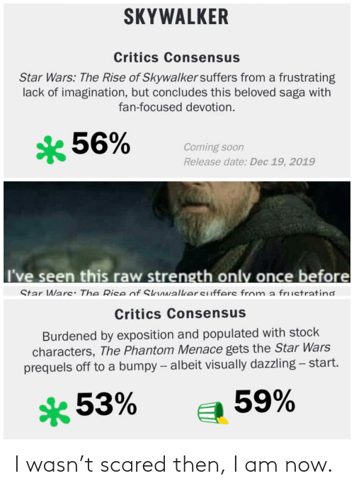 exposition: SKYWALKER  Critics Consensus  Star Wars: The Rise of Skywalker suffers from a frustrating  lack of imagination, but concludes this beloved saga with  fan-focused devotion.  * 56%  Coming soon  Release date: Dec 19, 2019  I've seen this raw strength only once before  Star Wars: The Rise of Skuwalkersuffers from  a frustratinơ  Critics Consensus  Burdened by exposition and populated with stock  characters, The Phantom Menace gets the Star Wars  prequels off to a bumpy -- albeit visually dazzling - start.  59%  *53% I wasn't scared then, I am now.