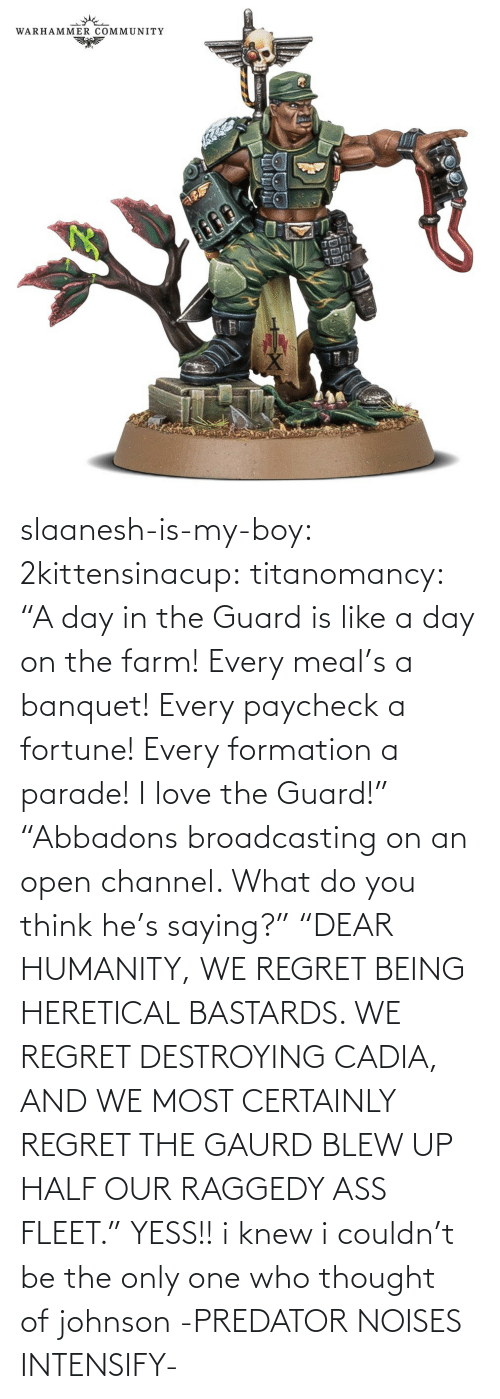 "Farm: slaanesh-is-my-boy:  2kittensinacup: titanomancy:    ""A day in the Guard is like a day on the farm! Every meal's a banquet! Every paycheck a fortune! Every formation a parade! I love the Guard!""     ""Abbadons broadcasting on an open channel. What do you think he's saying?"" ""DEAR HUMANITY, WE REGRET BEING HERETICAL BASTARDS. WE REGRET DESTROYING CADIA, AND WE MOST CERTAINLY REGRET THE GAURD BLEW UP HALF OUR RAGGEDY ASS FLEET.""  YESS!! i knew i couldn't be the only one who thought of johnson   -PREDATOR NOISES INTENSIFY-"