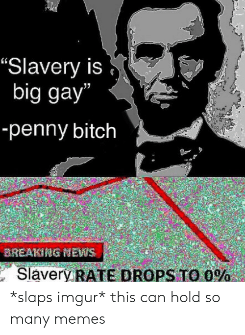 """slavery: """"Slavery is  big gay""""  -penny bitch  BREAKING NEWS  Slavery RATE DROPS TO O% *slaps imgur* this can hold so many memes"""