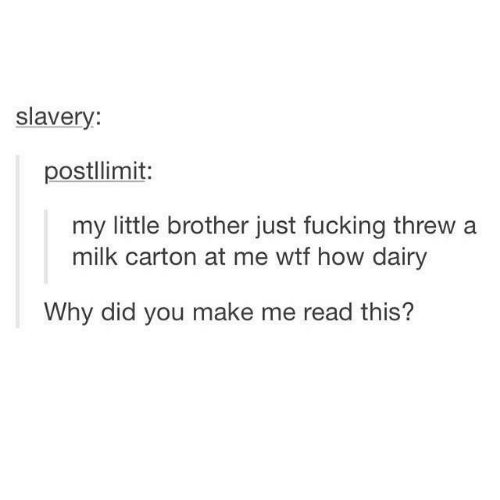 Fucking, Wtf, and Little Brother: slavery:  postllimit:  my little brother just fucking threw a  milk carton at me wtf how dairy  Why did you make me read this?