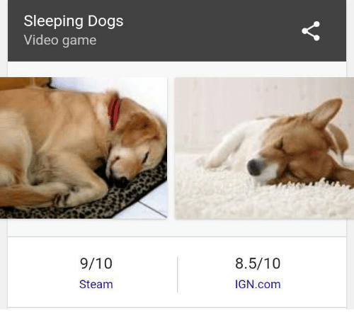 Steam, Dank Memes, and Sleeping Dogs: Sleeping Dogs  Video game  9/10  Steam  8.5/10  IGN.com