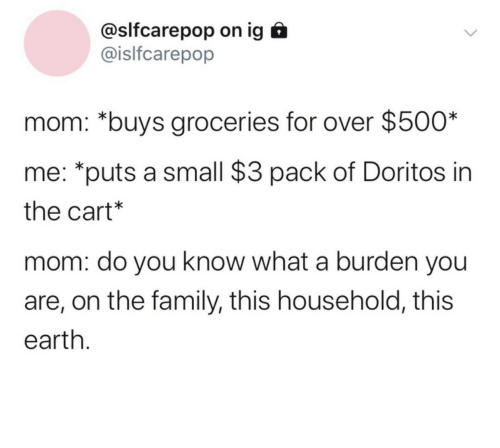 Family, Earth, and Mom: @slfcarepop on ig  @islfcarepop  mom: *buys groceries for over $500*  me: *puts a small $3 pack of Doritos in  the cart*  mom: do you know what a burden you  are, on the family, this household, this  earth