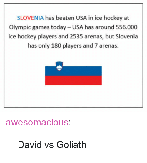 "goliath: SLOVENIA has beaten USA in ice hockey at  Olympic games today- USA has around 556.000  ice hockey players and 2535 arenas, but Slovenia  has only 180 players and 7 arenas.  崗 <p><a href=""http://awesomacious.tumblr.com/post/171287231477/david-vs-goliath"" class=""tumblr_blog"">awesomacious</a>:</p>  <blockquote><p>David vs Goliath</p></blockquote>"
